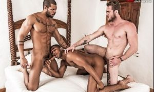 Huge sex of three strong gays