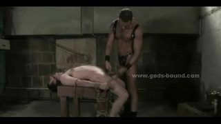 Bound on table gay hunk is tormented