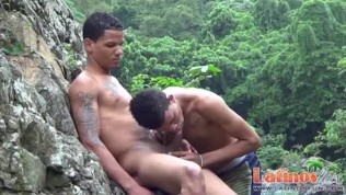 Horny Latin twinks blow dicks after a skinny dip